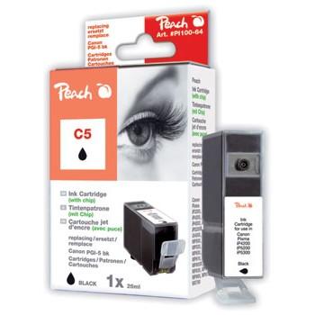 PI100-64 | Peach Canon PGI-5 BK, černá, s čipem, kompatibilní