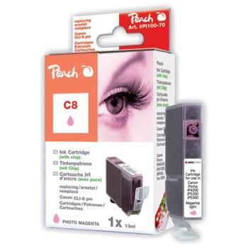 PI100-70 | Peach Canon CLI-8PM (CLI8PM, CLI 8 PM, C8PM) foto purpurová/červená (photo / light magenta)