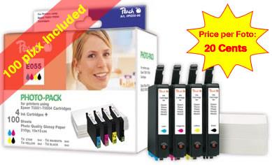 PI200-86 | sada Photo Pack ink. náplní Peach kompatbilních s Epson T0556 (T0551, T0552, T0553, T0554) + fotopapír