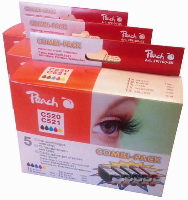 PI100-85 | 3x Peach sada Canon PGI-520/CLI-521