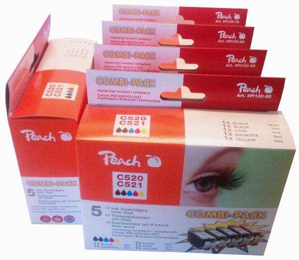 PI100-85 | Peach 5x Canon CLI-521 PGI-520 sada