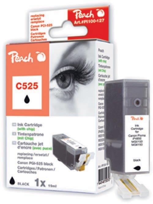 PI100-127 x5 | 5x Peach Canon PGI-525 bk (PGI525, PGI 525, C525) černá (black) s čipem (chip)