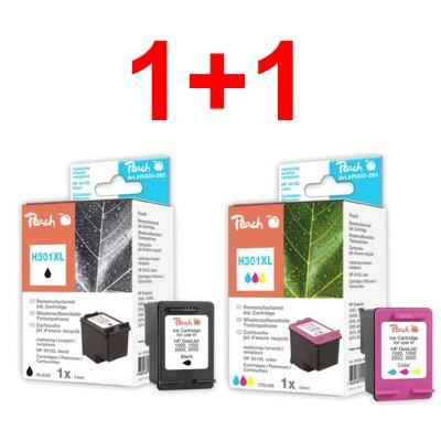 Peach sada ink. náplní kompatibilních s HP 301 XL černá + HP 301 XL barevná (1+1)