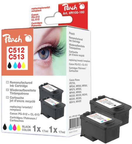 PI100-160 | Peach CombiPack Canon PG-512 černá(black) + CL-513 barevná(color), kompatibilní i s PG-510, CL-511