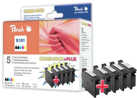 PI200-236 | Peach Epson T1816 combipack plus (CMYKK) kompatibilní (2 x černá T1811 XL)