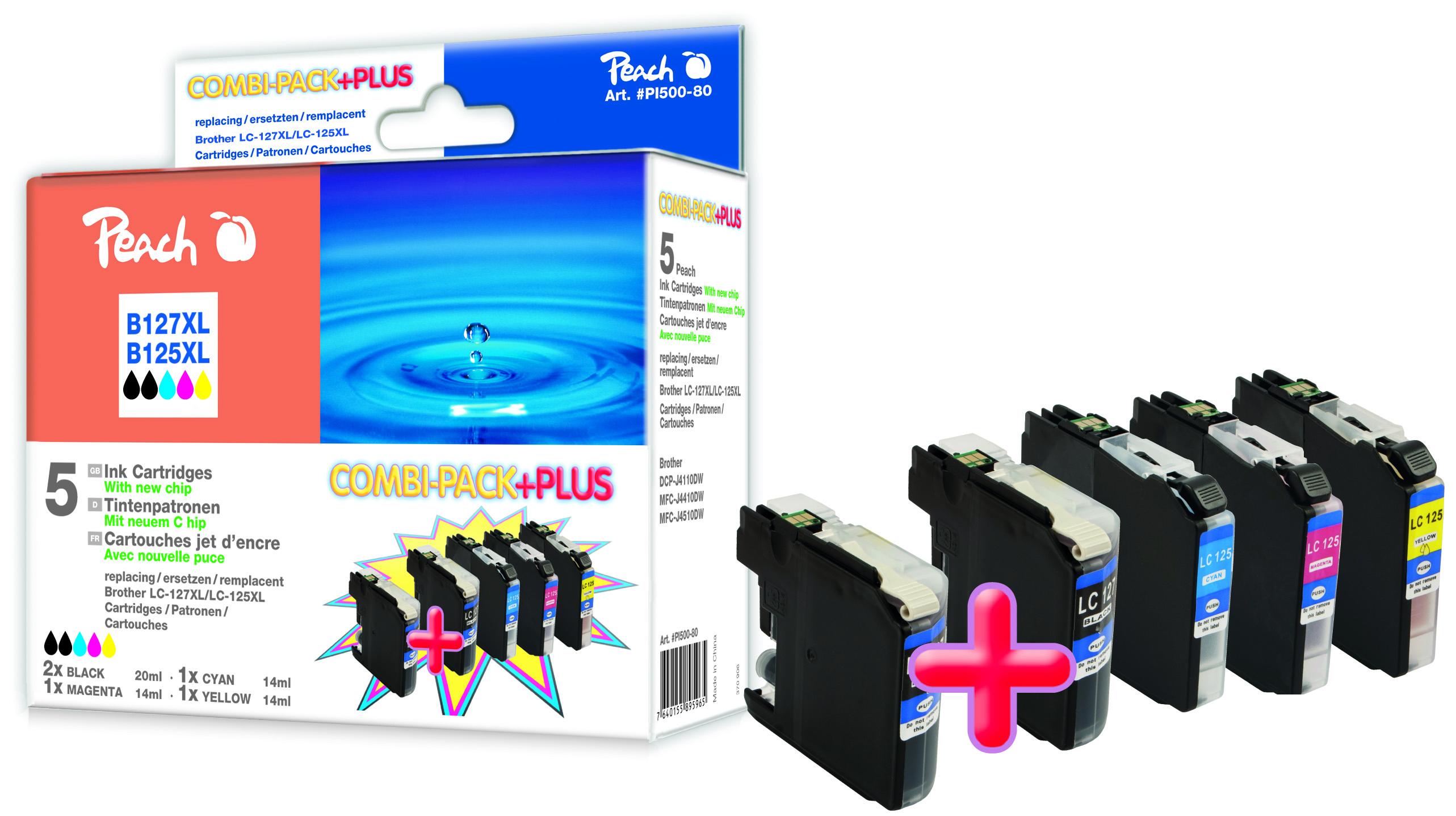 PI500-80 | Sada Peach Combi Plus, kompatibilní s Brother LC-125XL / LC-127XL