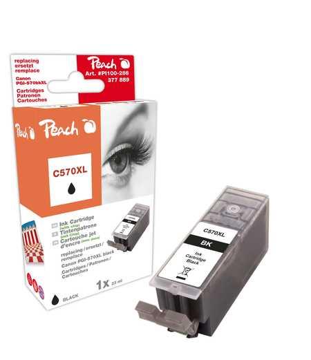 PI100-286 | Peach Canon PGI-570XL, černá, s čipem