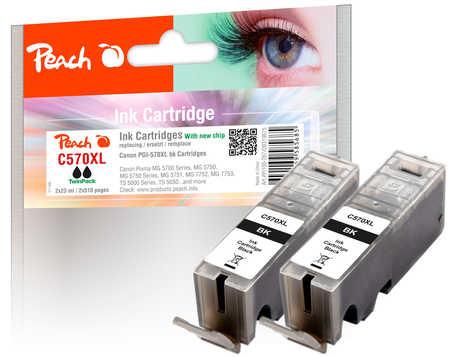 PI100-287 | Peach Canon PGI-570XL, černá, s čipem TwinPack (2 ks)