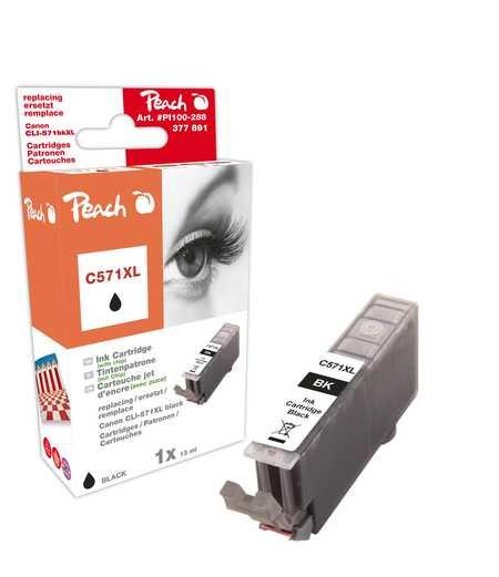 PI100-288 | Peach Canon CLI-571XL, černá, s čipem