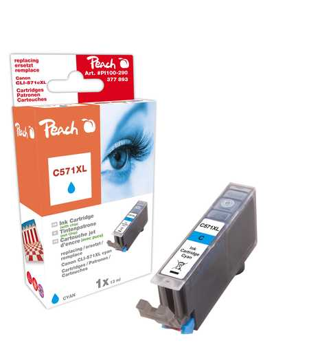 PI100-290 | Peach Canon CLI-571XL, azurová (cyan), s čipem