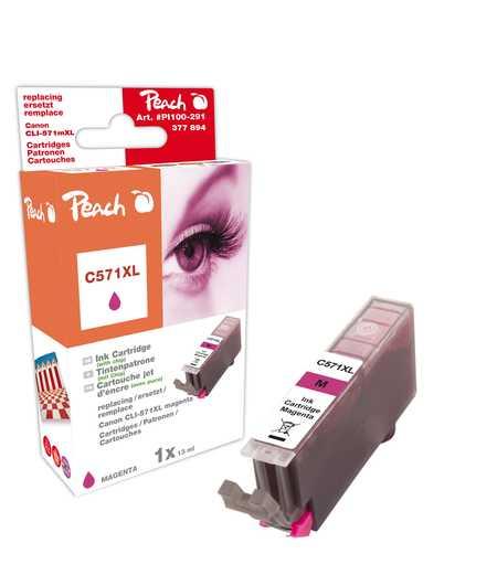 PI100-291 | Peach Canon CLI-571XL, purpurová (magenta), s čipem