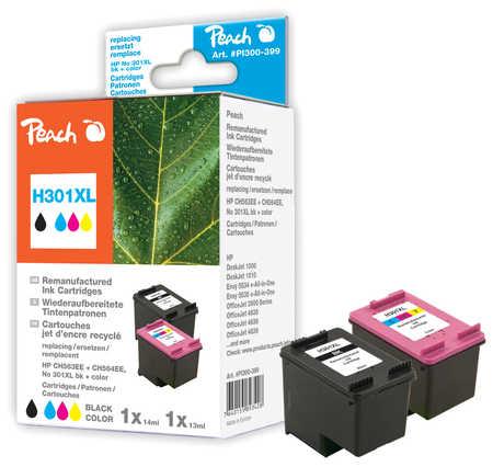 PI300-399 | Peach sada Multipack ink. náplní kompatibilních s HP 301 XL černá + HP 301 XL barevná, REM, OEM