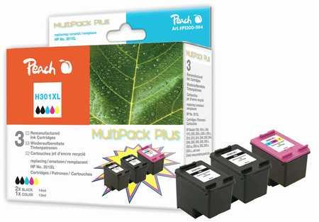 PI300-564 | Peach sada Multipack Plus ink. náplní kompatibilních s HP 301 XL - 2x černá + 1x barevná, REM, OEM