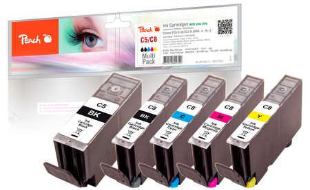 PI100-71 | Peach Canon PGI-5, CLI-8 sada combipack (PGI5, CLI8, C5, C8) černá (black), azurová/modrá (cyan), purpurová/červená/růžová (magenta), žlutá (yellow)