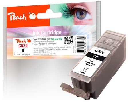 PI100-80 | Peach Canon PGI-520 bk (PGI520bk, PGI-520bk, PGI 520 bk) - černá (black) s čipem