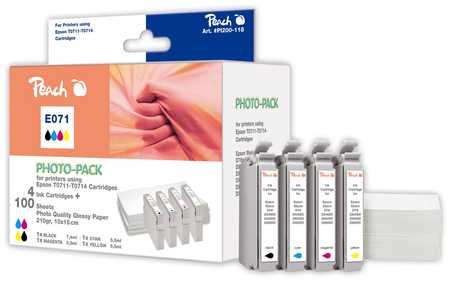 PI200-118 | sada ink. náplní Peach kompatibilních s Epson T0715 + fotopapír