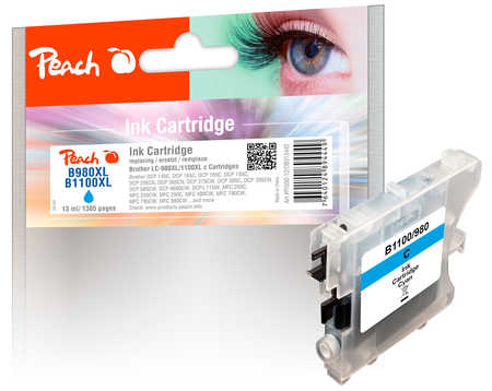 PI500-12 | Peach Brother LC-980 / LC-1100 (LC980, LC 980, B980, LC1100, LC 1100, B1100) azurová/modrá (cyan)