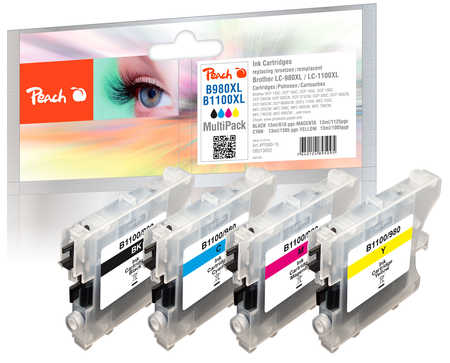 PI500-15 | Peach BROTHER LC-1100 - LC-1100 sada inkoustů black, magenta, yellow, cyan