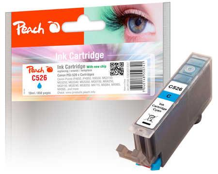PI100-129 | Peach Canon CLI-526 c (CLI526, CLI 526, C526) azurová (modrá, cyan) s čipem (chip)