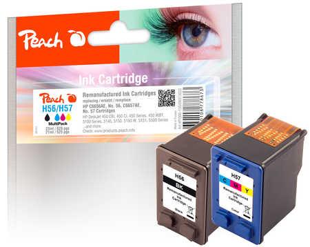 PI300-135 | sada Peach Hewlett Packard HP č 56 (C6656A, H56) černá (black) + HP č 57 (C6657A, H57) barevná (color)