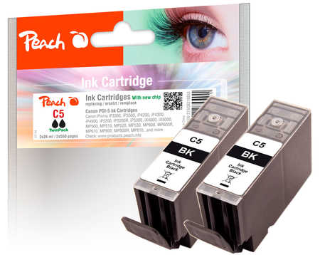 PI100-219 | Twinpack Peach Canon PGI-5 BK, černá, s čipem, kompatibilní