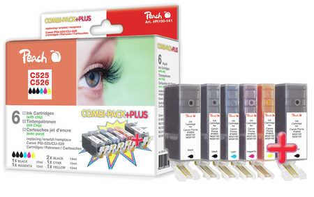 PI100-141 | Peach Combi Pack Plus s čipem, kompatibilní s Canon CLI-526, PGI-525