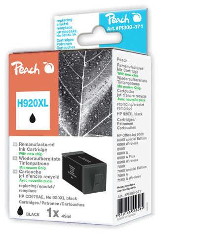 PI300-371 | Peach HP 920XL s čipem, černá, kompatibilní s CD975AE, No 920XL